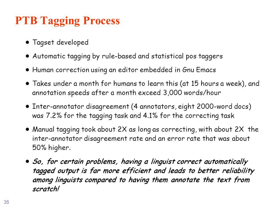 PTB Tagging Process Tagset developed