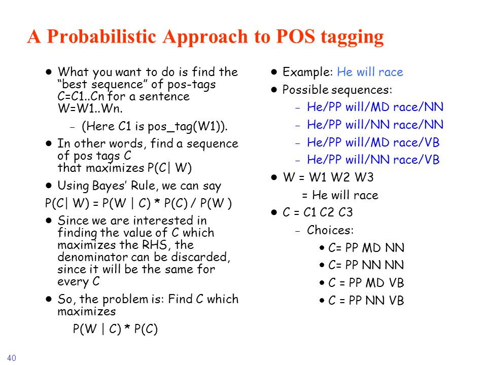 A Probabilistic Approach to POS tagging