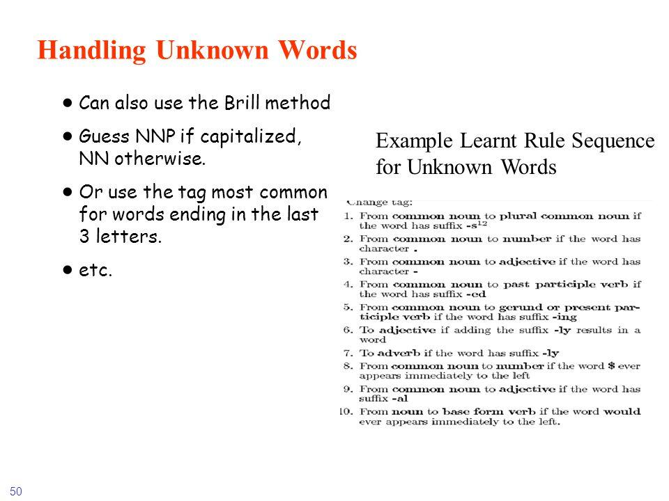 Handling Unknown Words