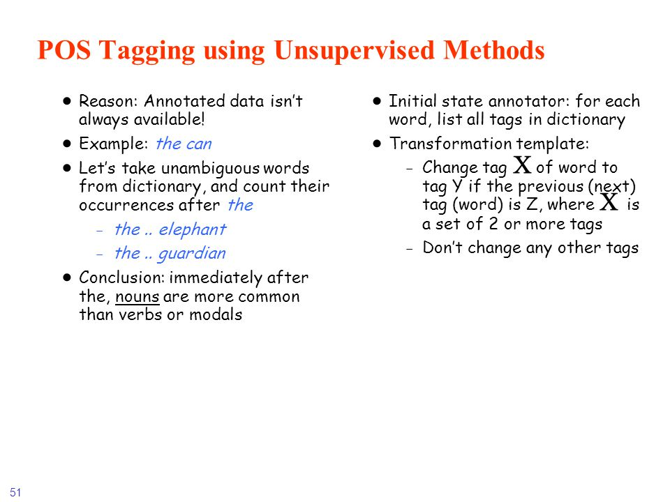 POS Tagging using Unsupervised Methods