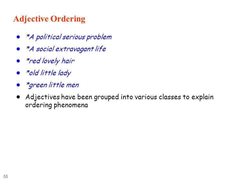 Adjective Ordering *A political serious problem