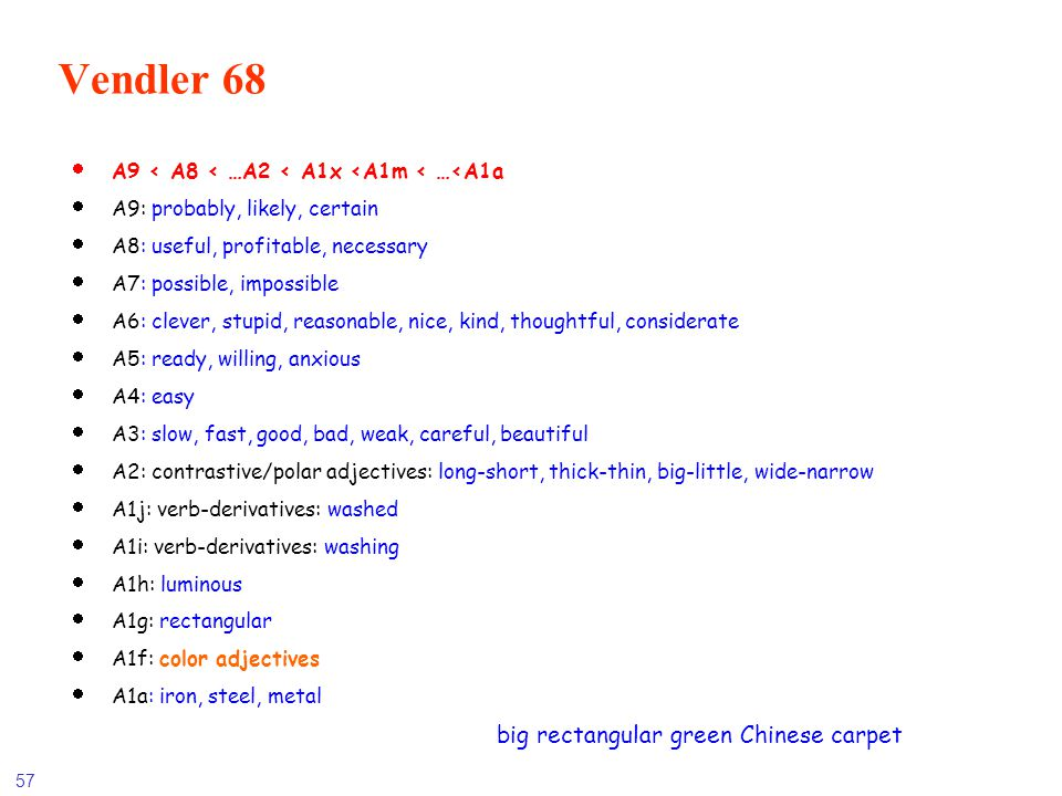 Vendler 68 A9 < A8 < …A2 < A1x <A1m < …<A1a