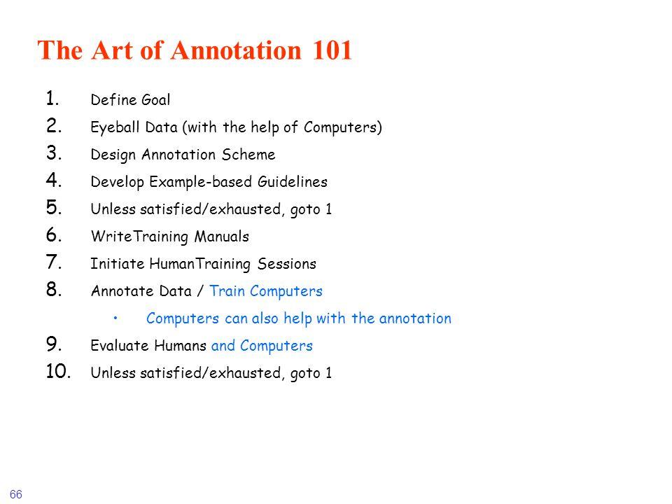 The Art of Annotation 101 Define Goal