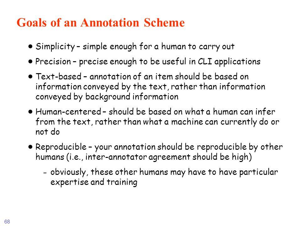 Goals of an Annotation Scheme