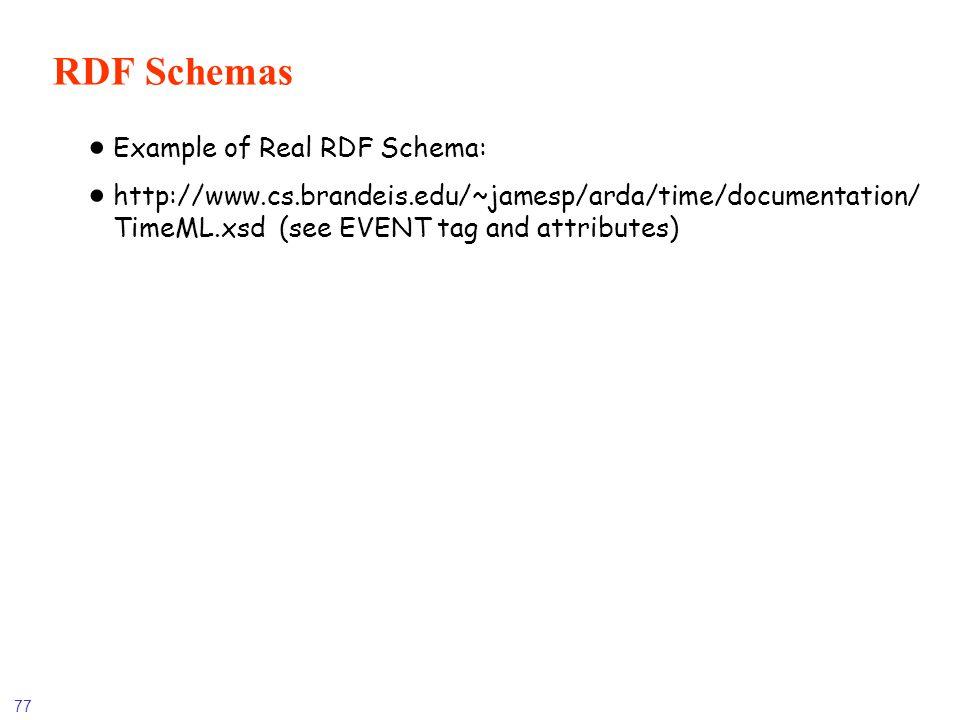 RDF Schemas Example of Real RDF Schema: