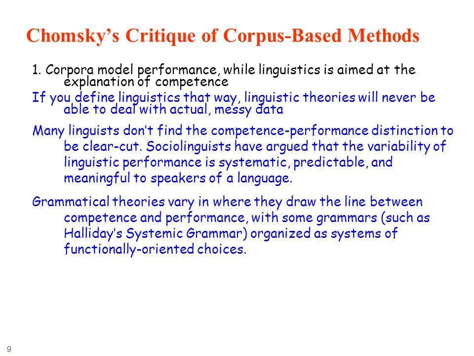 Chomsky's Critique of Corpus-Based Methods