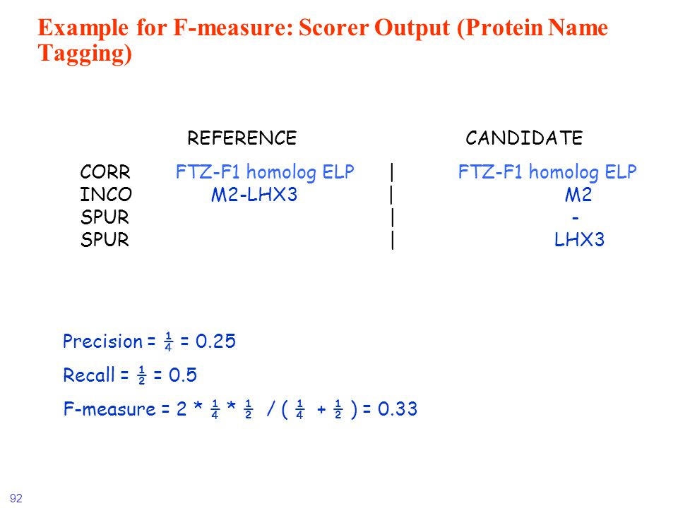 Example for F-measure: Scorer Output (Protein Name Tagging)