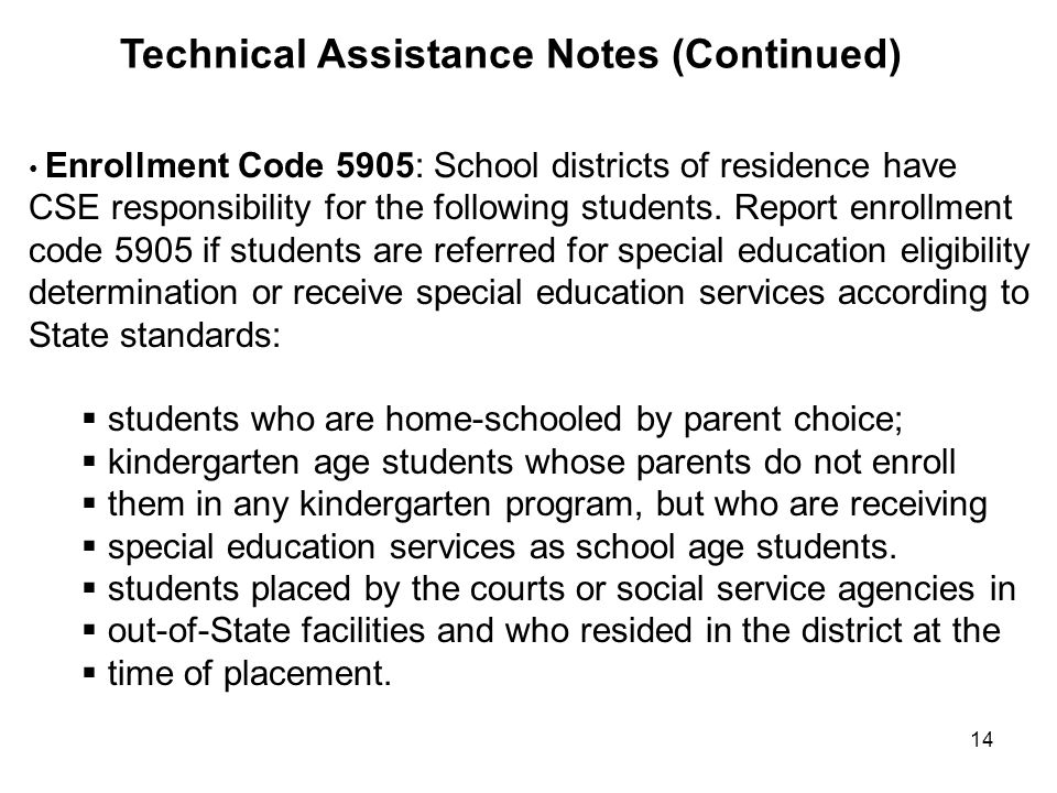 Technical Assistance Notes (Continued)