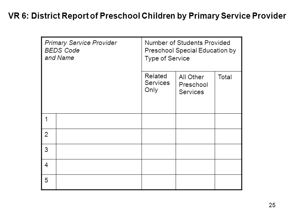 VR 6: District Report of Preschool Children by Primary Service Provider