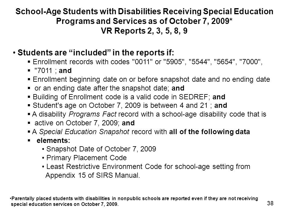 Students are included in the reports if:
