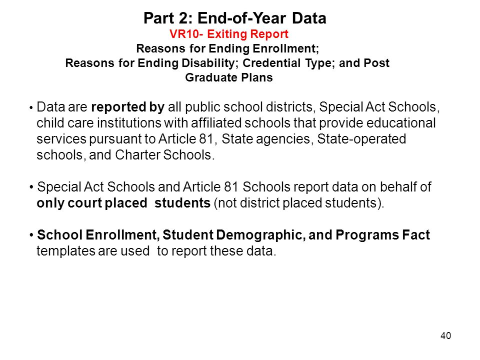 Part 2: End-of-Year Data