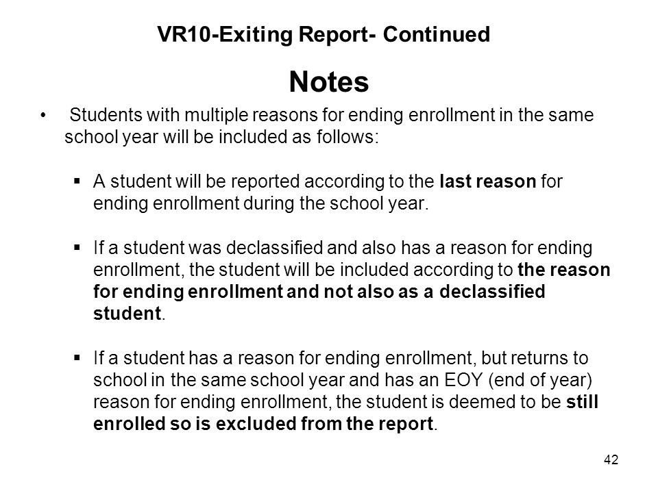 VR10-Exiting Report- Continued