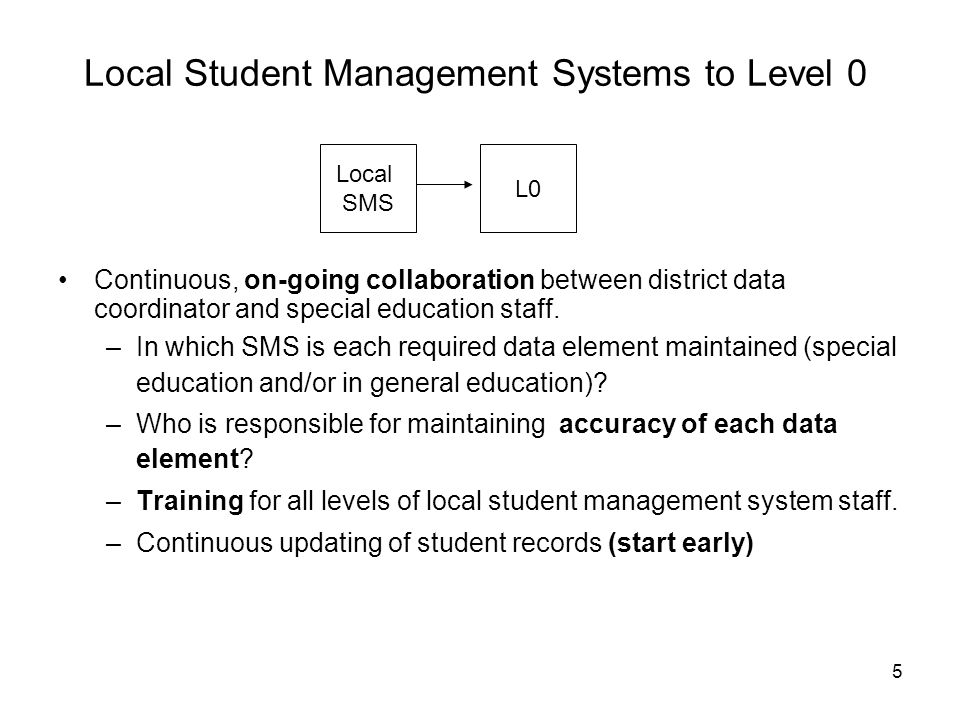 Local Student Management Systems to Level 0