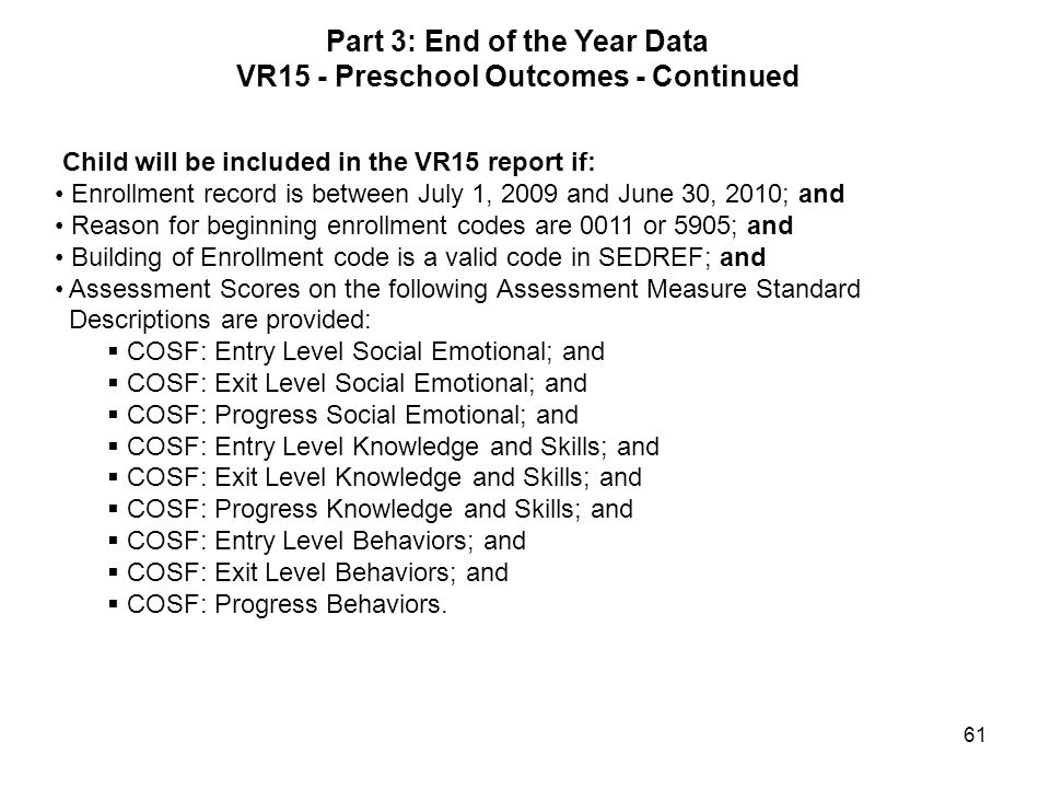 Part 3: End of the Year Data VR15 - Preschool Outcomes - Continued