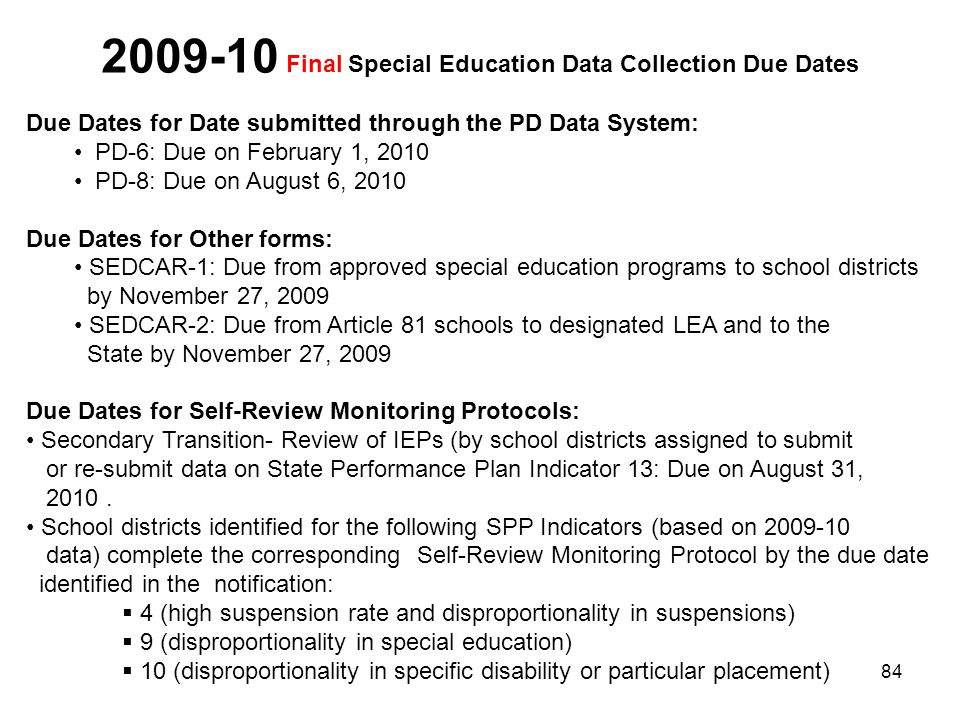 2009-10 Final Special Education Data Collection Due Dates