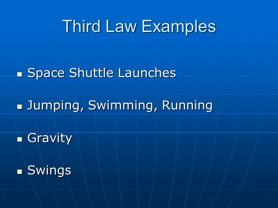 Third Law Examples Space Shuttle Launches Jumping, Swimming, Running