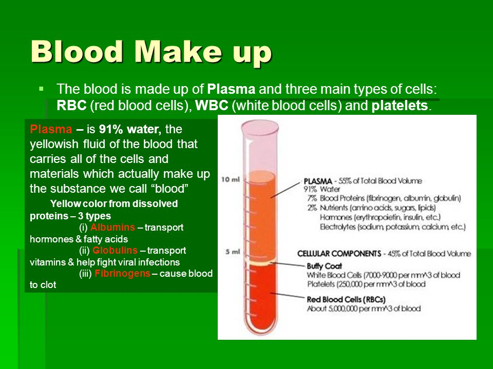 Blood Make up The blood is made up of Plasma and three main types of cells: RBC (red blood cells), WBC (white blood cells) and platelets.