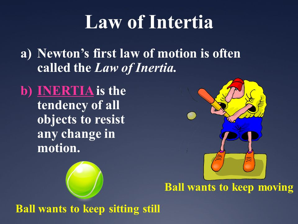 Law of Intertia Newton's first law of motion is often called the Law of Inertia.