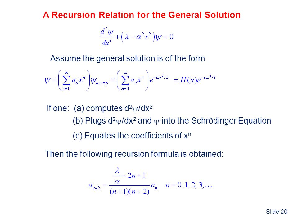 A Recursion Relation for the General Solution
