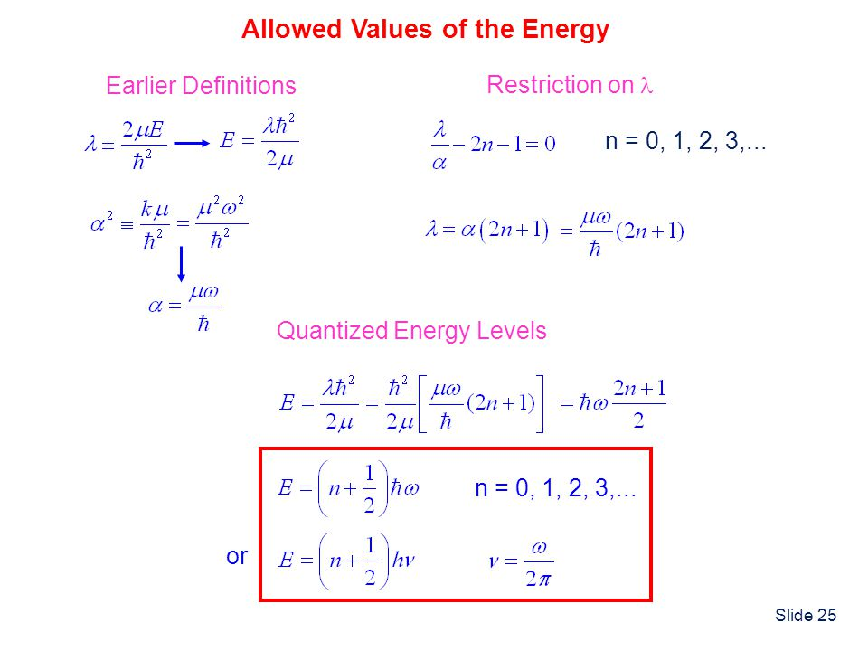 Allowed Values of the Energy