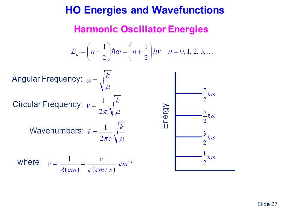 HO Energies and Wavefunctions