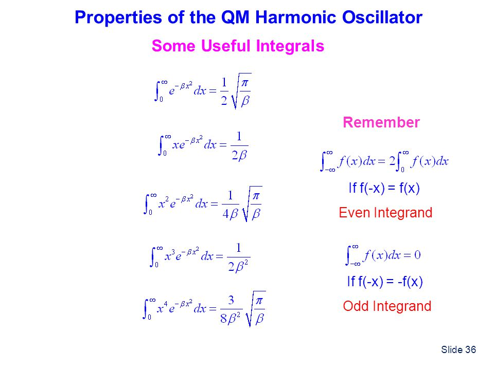 Properties of the QM Harmonic Oscillator