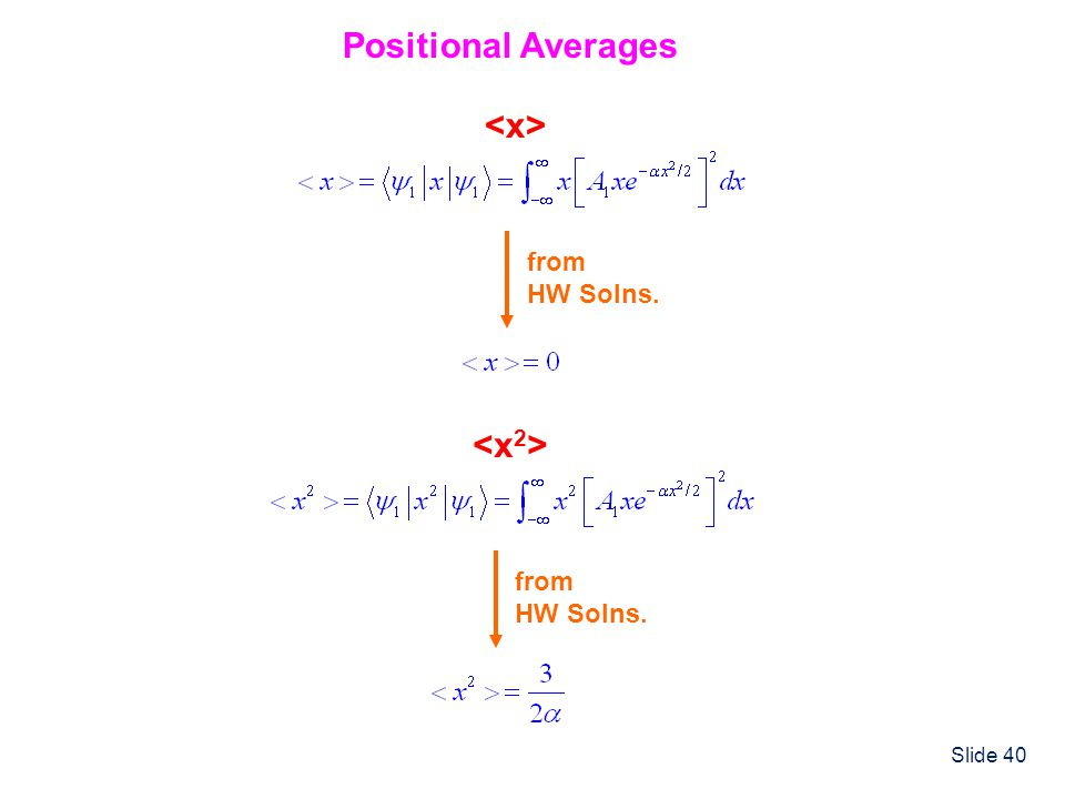 Positional Averages <x> from HW Solns. <x2> from HW Solns.
