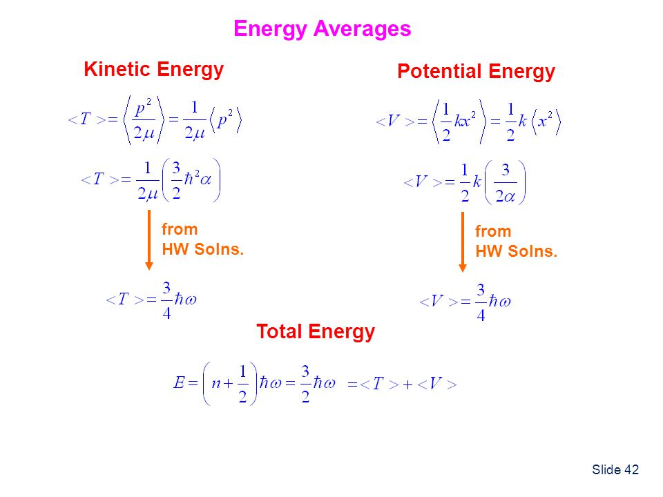 Energy Averages Kinetic Energy Potential Energy Total Energy from from