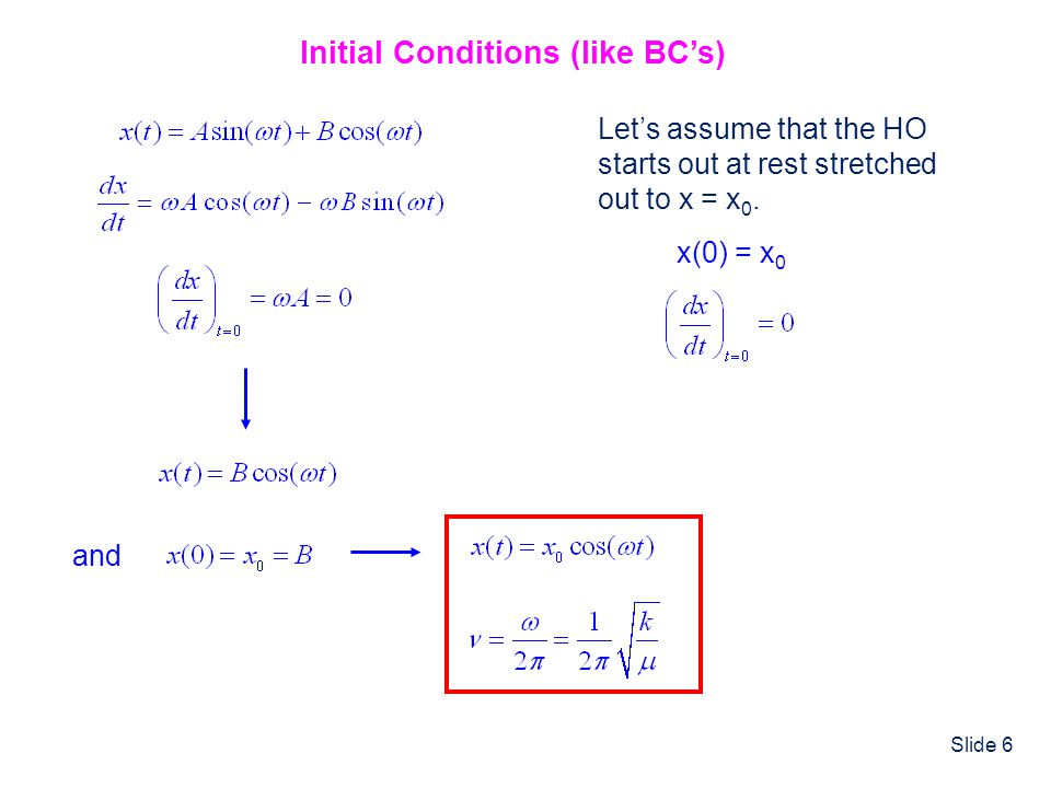 Initial Conditions (like BC's)