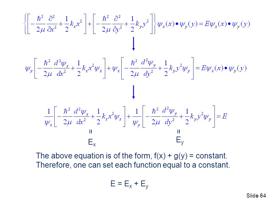 = Ex. Ey. The above equation is of the form, f(x) + g(y) = constant. Therefore, one can set each function equal to a constant.