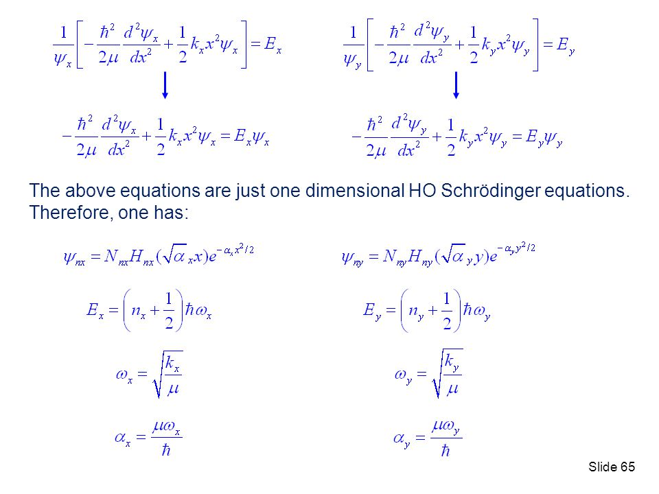 The above equations are just one dimensional HO Schrödinger equations.