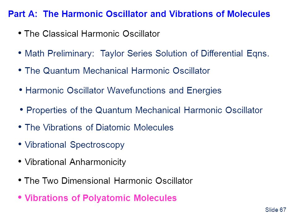 Part A: The Harmonic Oscillator and Vibrations of Molecules