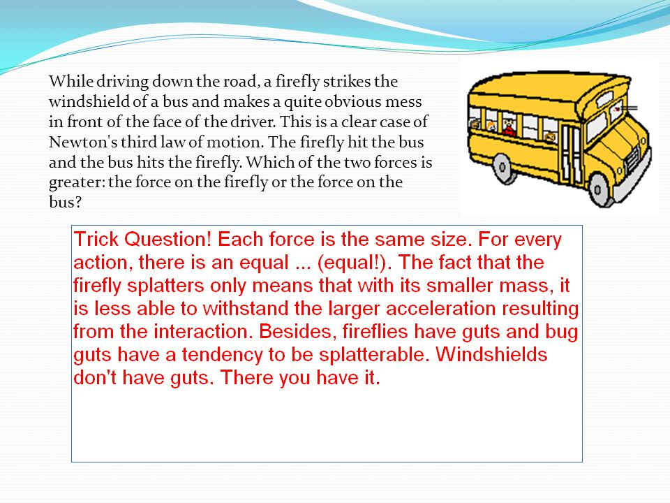 While driving down the road, a firefly strikes the windshield of a bus and makes a quite obvious mess in front of the face of the driver.