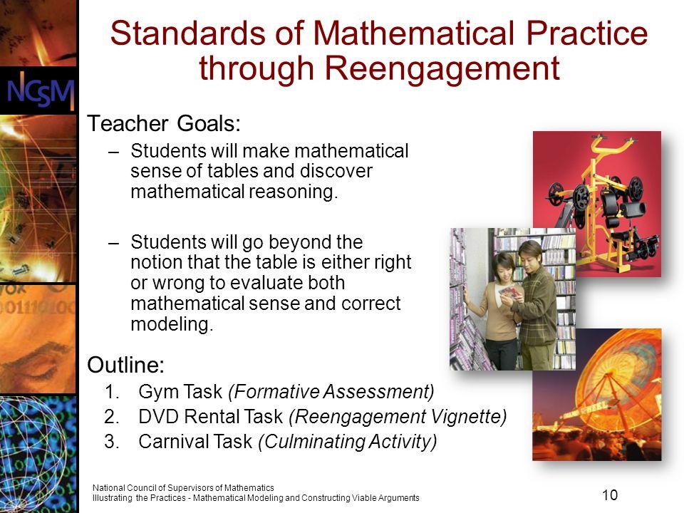 Standards of Mathematical Practice through Reengagement