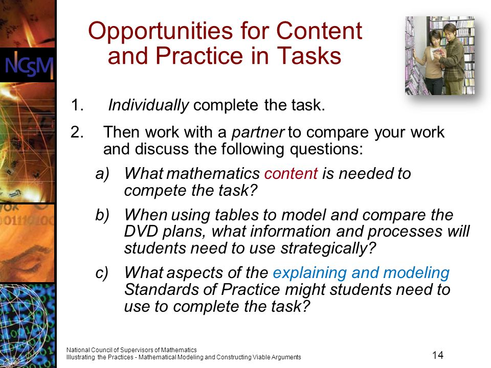 Opportunities for Content and Practice in Tasks