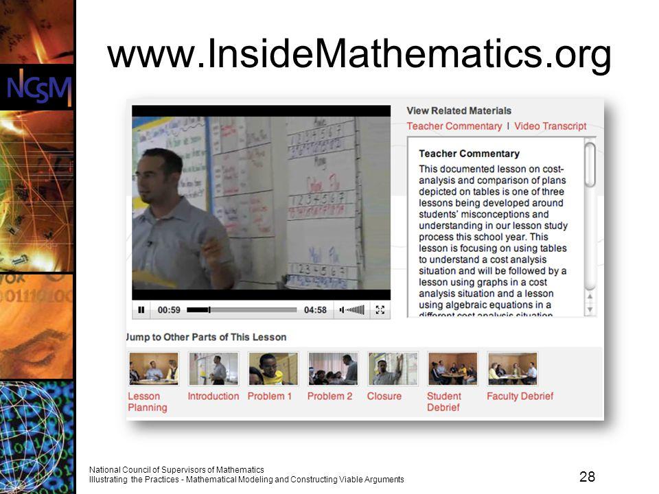 www.InsideMathematics.org Source of the mathematics tasks, video, sample student work, teacher reflections is the website Inside Mathematics.