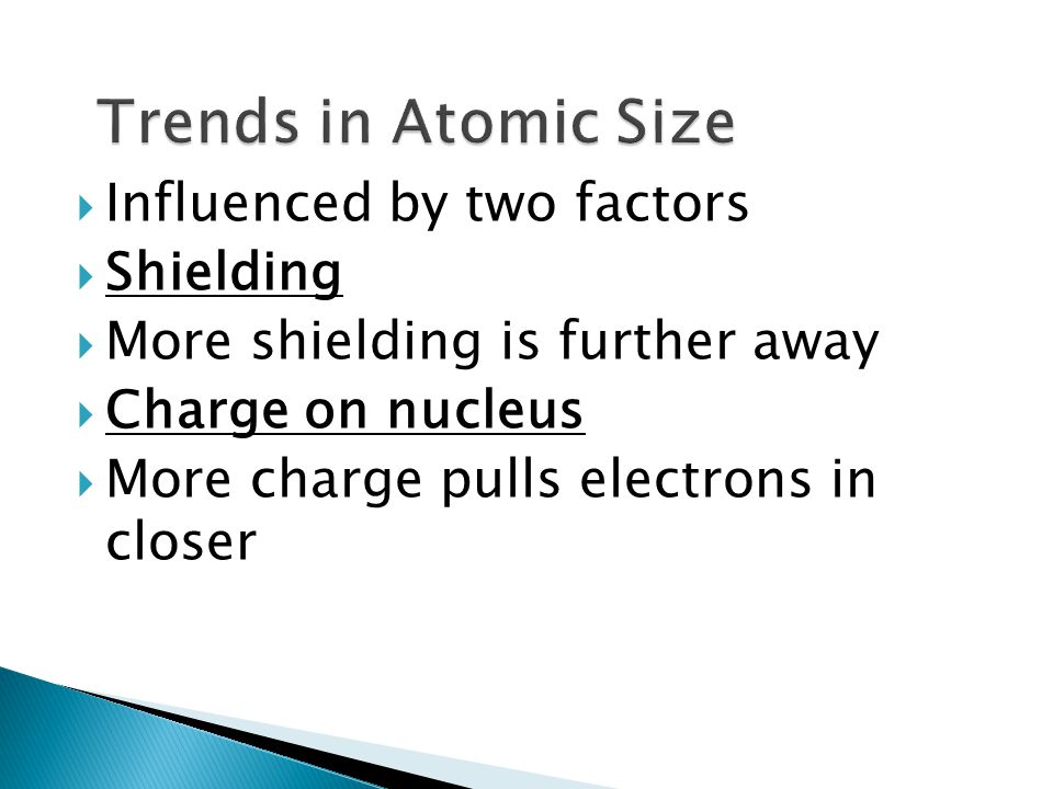 Trends in Atomic Size Influenced by two factors Shielding