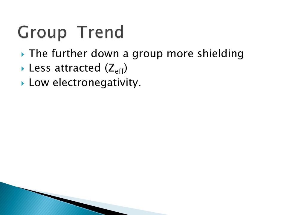 Group Trend The further down a group more shielding