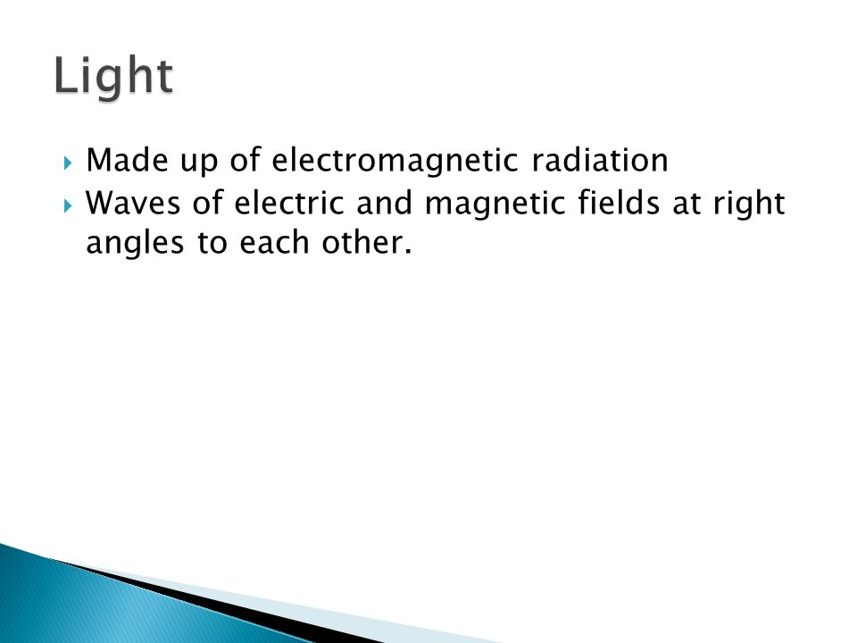 Light Made up of electromagnetic radiation