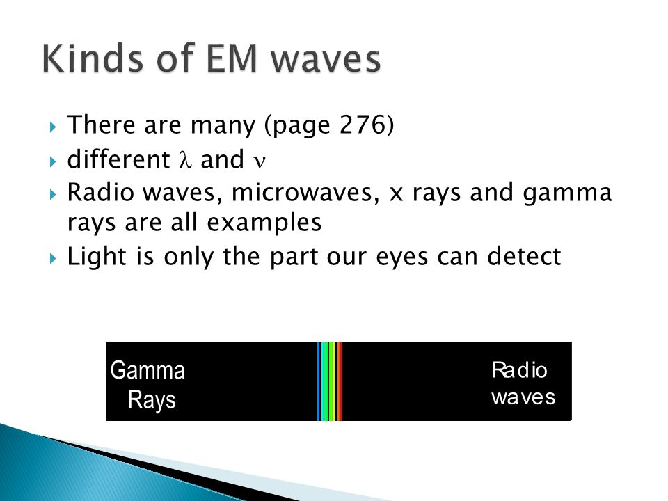 Kinds of EM waves G a m m a R a y s There are many (page 276)