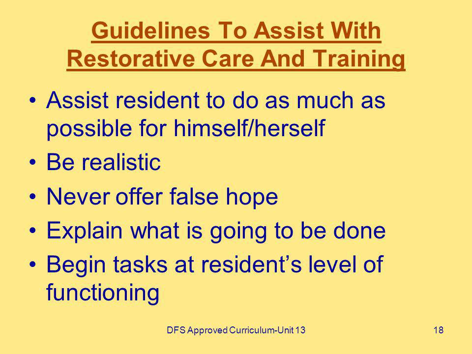 Guidelines To Assist With Restorative Care And Training