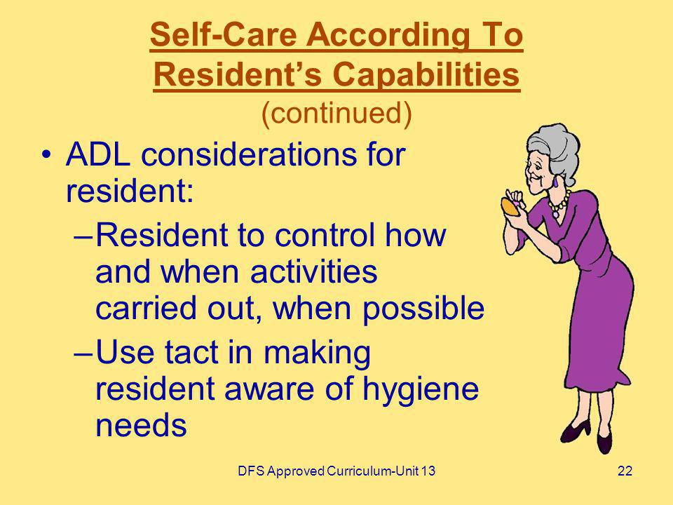 Self-Care According To Resident's Capabilities (continued)