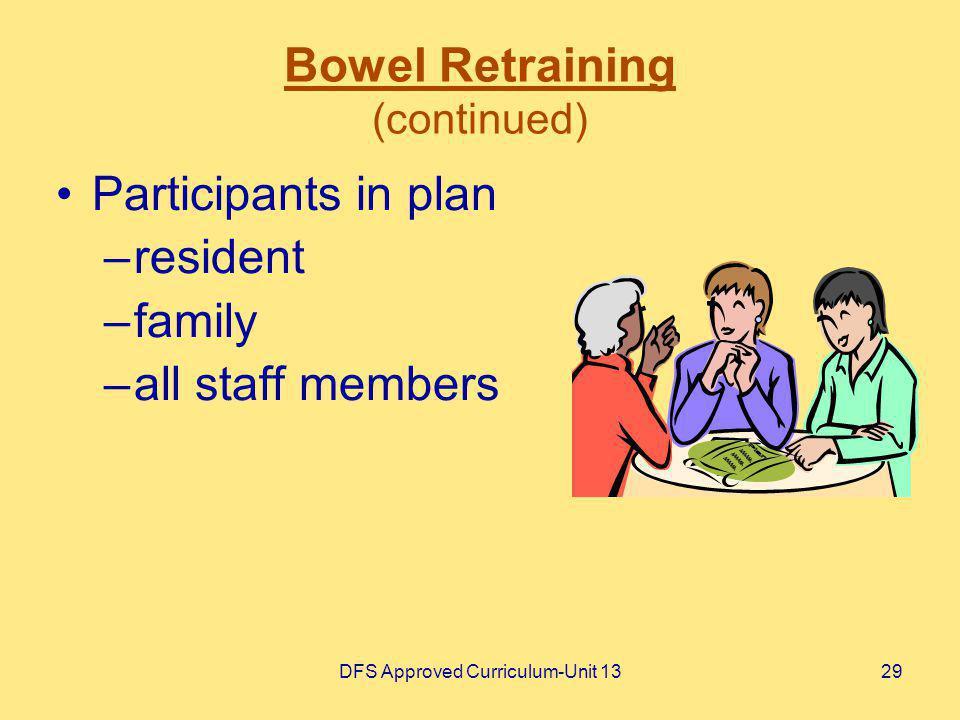 Bowel Retraining (continued)