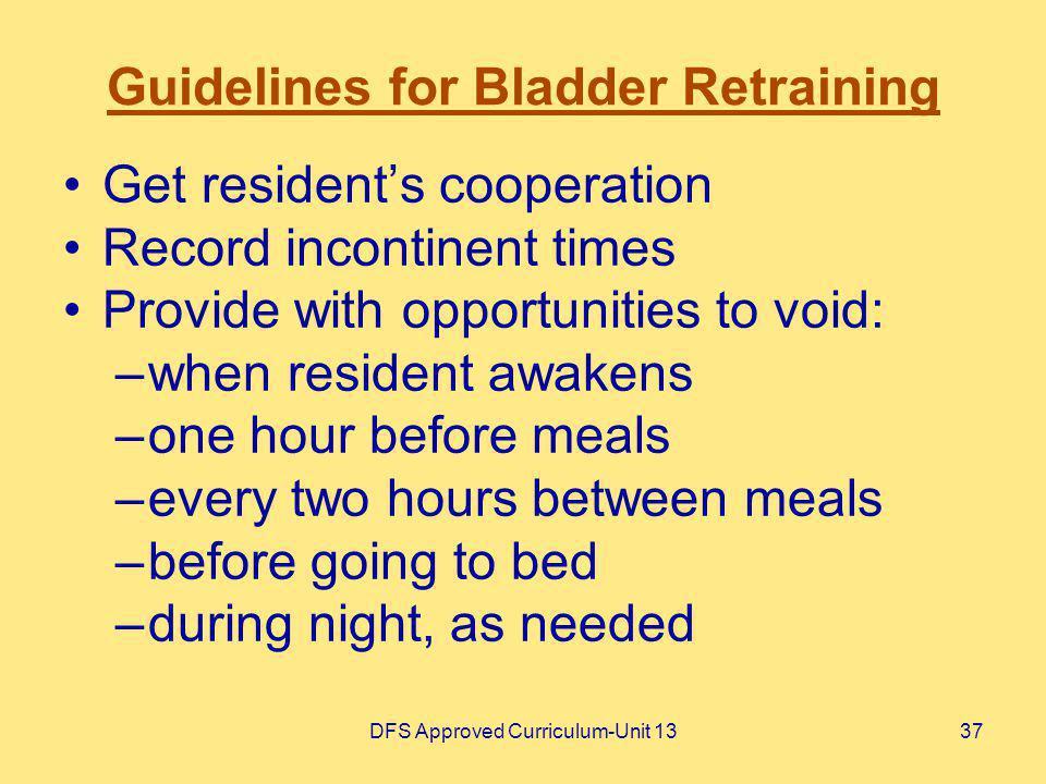 Guidelines for Bladder Retraining