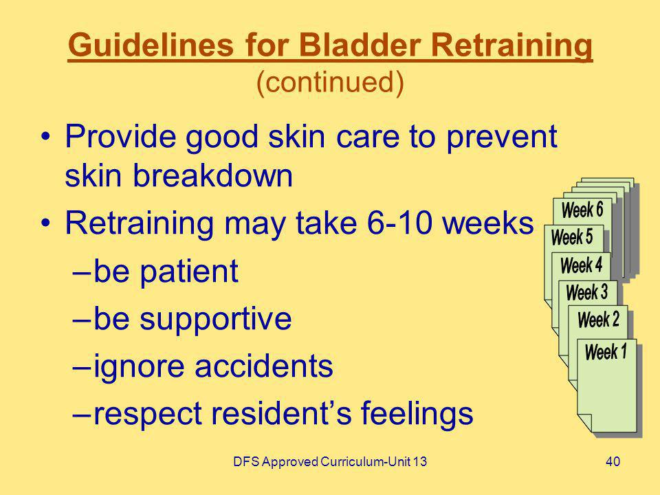 Guidelines for Bladder Retraining (continued)