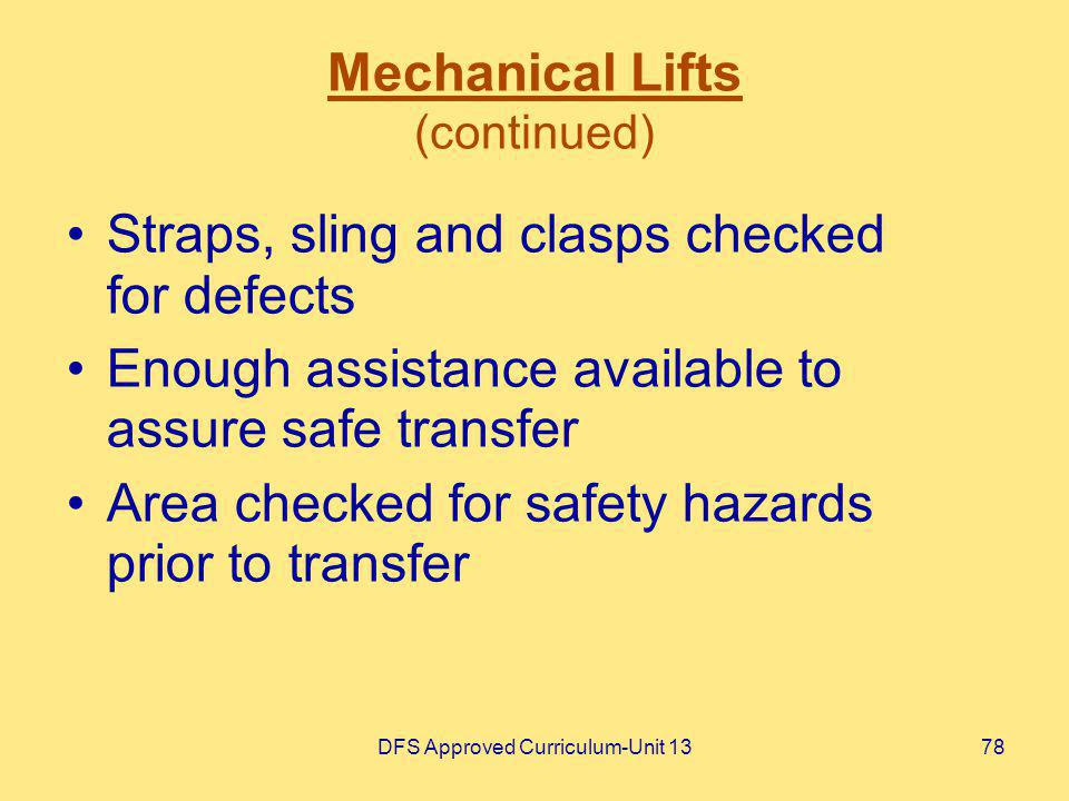 Mechanical Lifts (continued)