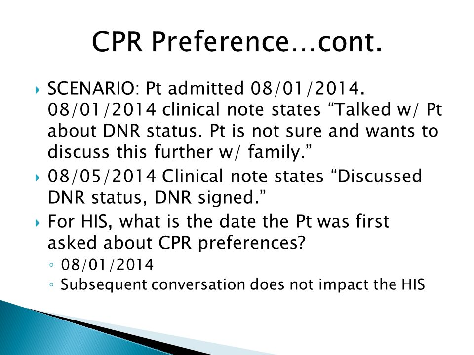 CPR Preference…cont.