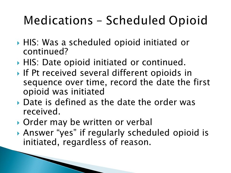 Medications – Scheduled Opioid
