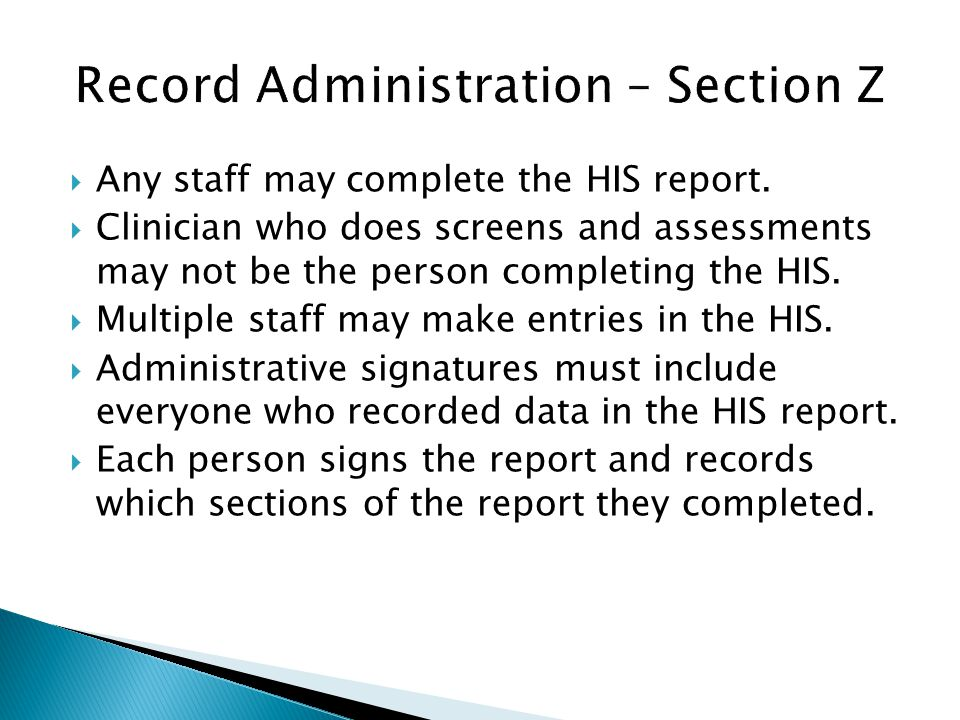 Record Administration – Section Z