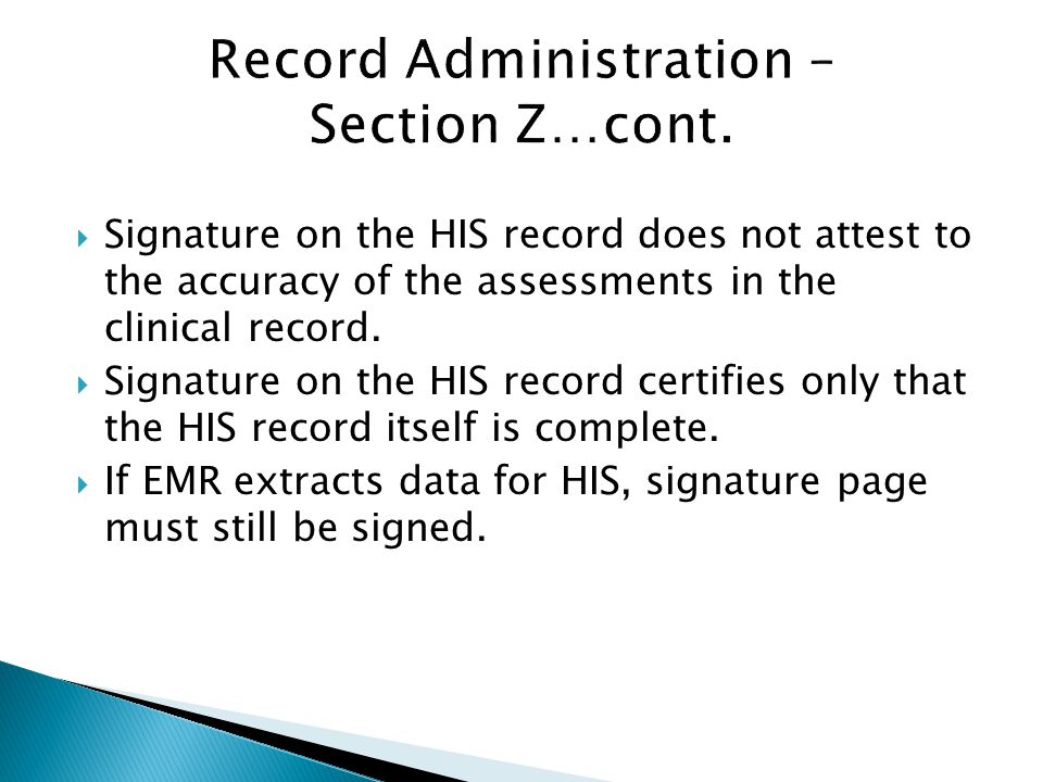 Record Administration – Section Z…cont.